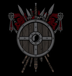 viking design viking shield and swords set of vector image