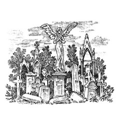 vintage cemetery landscape with an angel on the vector image