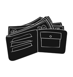 Wallet with cash icon in black style isolated on vector image