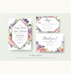 wedding floral invitation rsvp thank you card vector image