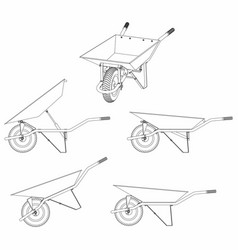 Wheelbarrow multiple views and outline only vector