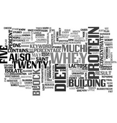 Whey protein diet text word cloud concept vector