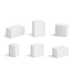White cardboard boxes blank medicine package vector