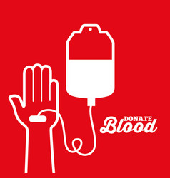 White hand and iv bag donate blood transfusion vector