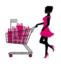 woman wheels a cart with gifts and shopping vector image