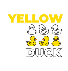 yellow duck rubber duck cartoon character icon vector image