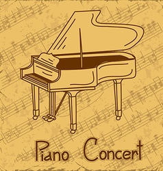Background of grand piano and music stave vector