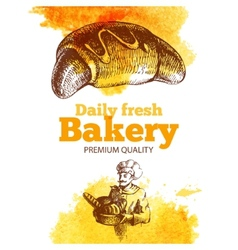 Bakery watercolor and sketch background vector