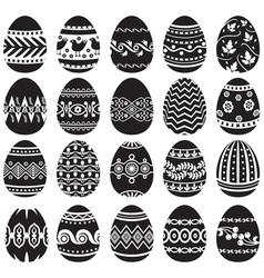 easter egg set black vector image