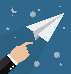 Hand launch paper rocket in space vector image