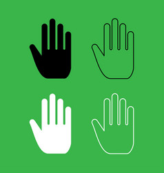 open human hand icon black and white color set vector image vector image