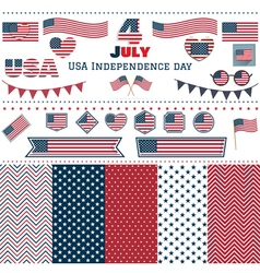 Set of American flags hearts patterns vector image vector image