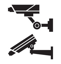 Silhouettes of CCTV cameras vector image vector image