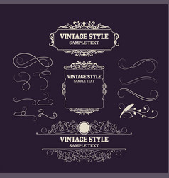 vintage decorations elements and frames retro vector image