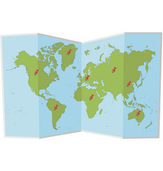 world map with pins vector image