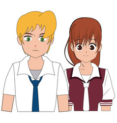 Anime boy and girl student with uniform image vector