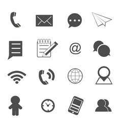 contact and communication icons set vector image vector image