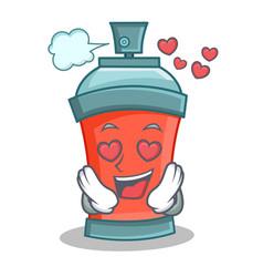 in love aerosol spray can character cartoon vector image vector image