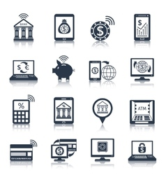 Mobile banking icons black vector image vector image