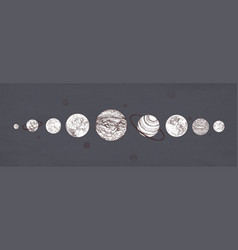 planets organized in row against dark background vector image vector image