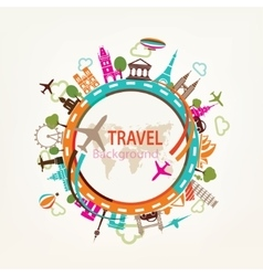 world travel landmarks silhouettes icons set vector image vector image