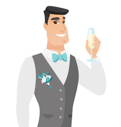 young caucasian groom holding glass of champagne vector image vector image