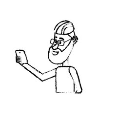 Figure nice man with hairstyle and smartphone in vector