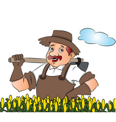 gardener with a shovel vector image