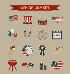 vintage style set of patriotic icons independence vector image vector image