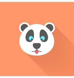 cute panda icon with long shadow vector image vector image