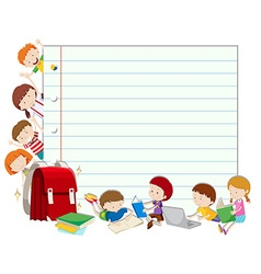 Line paper with children reading book vector image vector image