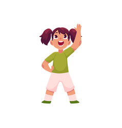 little girl with ponytails doing morning exercises vector image vector image