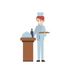 Restaurant chief preparing a meal hotel themed vector