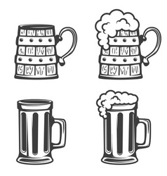 set of beer mugs icons isolated on white vector image