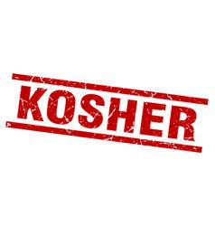 square grunge red kosher stamp vector image vector image