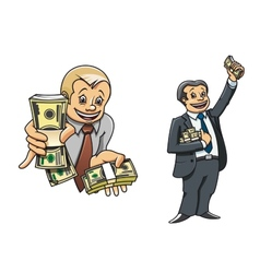 Successful businessman characters with money vector