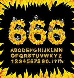 666 font Hell ABC Fire letters Sinners in fiery vector image