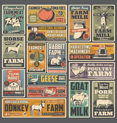 Agriculture and farm retro posters vector