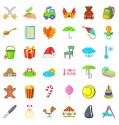 autumn day icons set cartoon style vector image