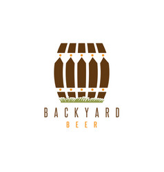 Backyard beer design template with fence and cask vector