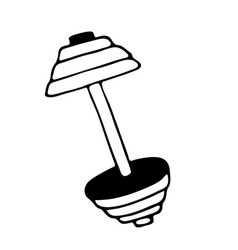 barbel dumbbell gym icon in doodle style isolated vector image