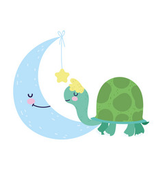 bashower cute turtle and moon with star cartoon vector image