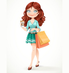 Beautiful girl with shopping bags and a paper cup vector image