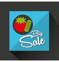 Big sale concept juicy tomato vector