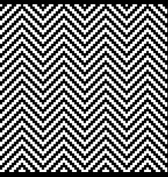 black and white chevron pixel art seamless pattern vector image