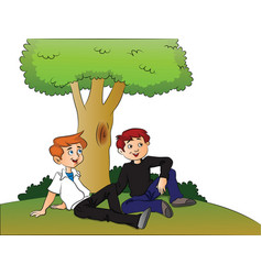 Boys relaxing under a tree vector