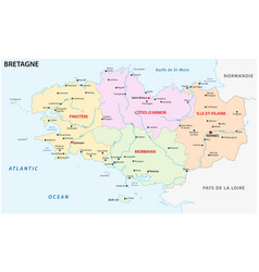 brittany administrative and political map vector image