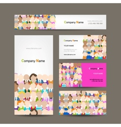 Business cards collection people crowd design vector image