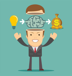 Businessman creates money from the idea vector