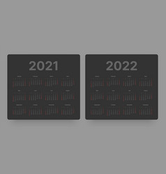 Calendar for 2021 and 2022 year week starts on vector